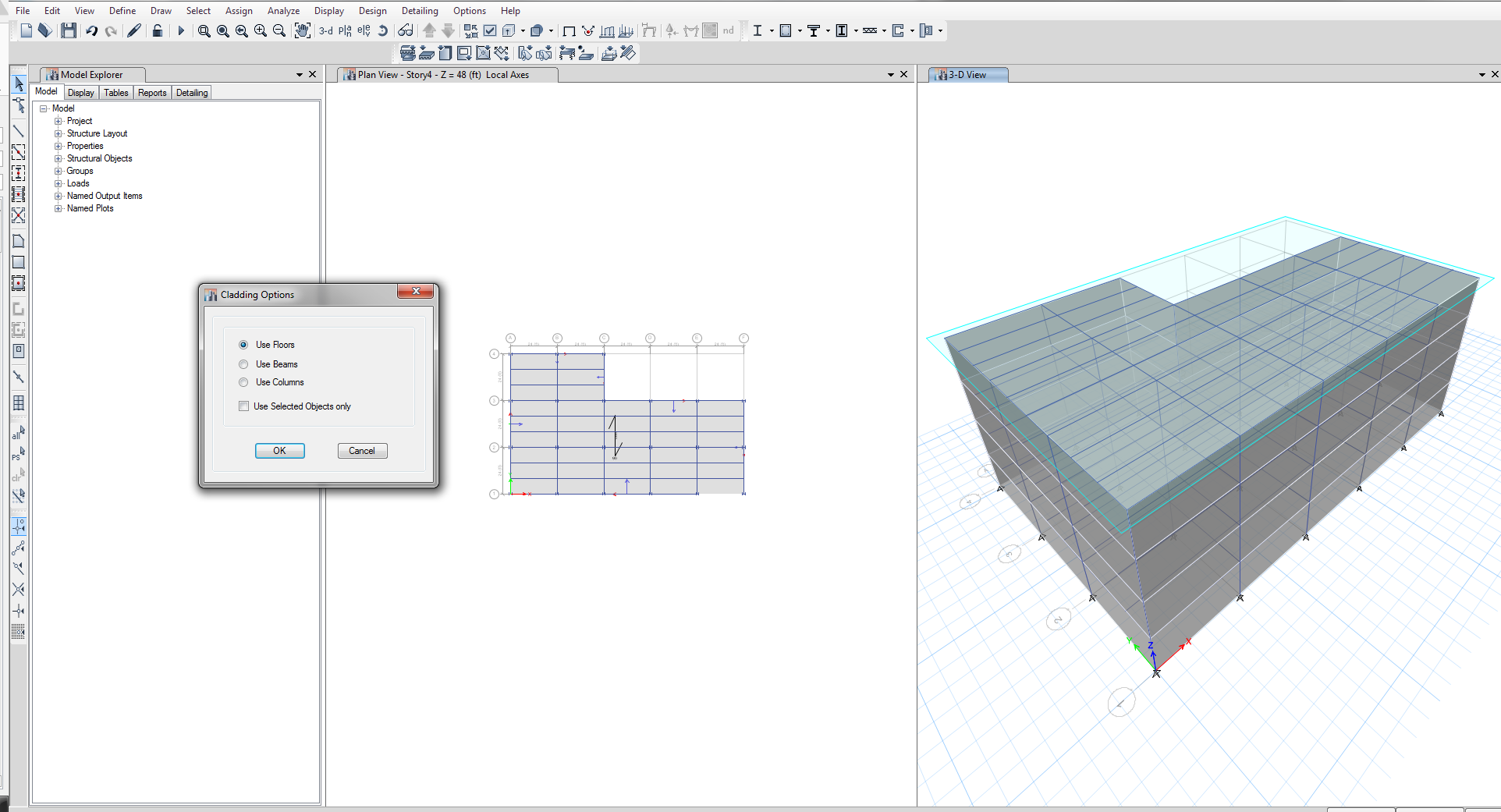 Auto Draw Cladding option - ETABS - Computers and Structures