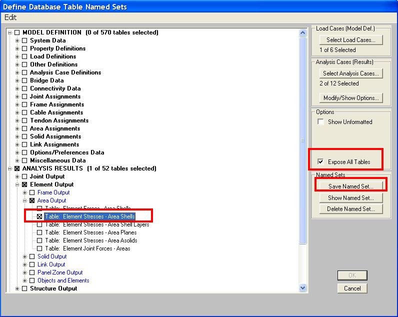 automatically save tabular analysis results