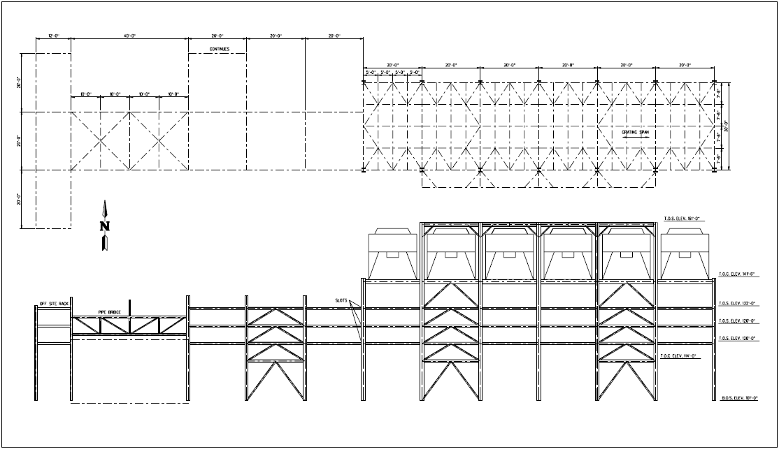 Pipe rack load calculation cosmecol for Steel building plans drawings